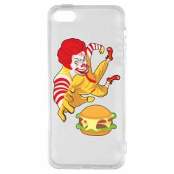 Чехол для iPhone5/5S/SE Clown in flight with a burger