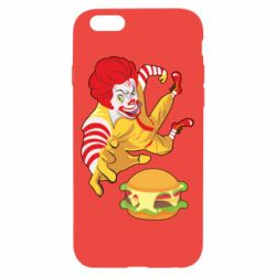 Чехол для iPhone 6/6S Clown in flight with a burger