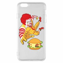 Чехол для iPhone 6 Plus/6S Plus Clown in flight with a burger