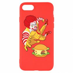 Чехол для iPhone 8 Clown in flight with a burger