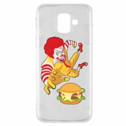 Чехол для Samsung A6 2018 Clown in flight with a burger
