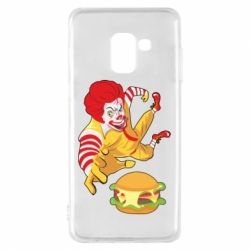 Чехол для Samsung A8 2018 Clown in flight with a burger