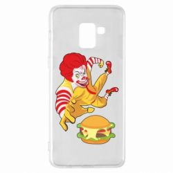 Чехол для Samsung A8+ 2018 Clown in flight with a burger