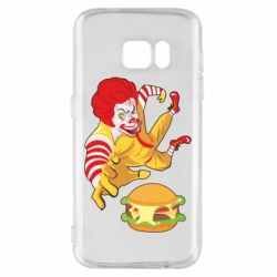 Чехол для Samsung S7 Clown in flight with a burger