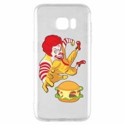 Чехол для Samsung S7 EDGE Clown in flight with a burger