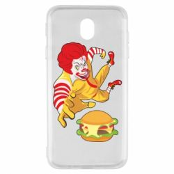 Чехол для Samsung J7 2017 Clown in flight with a burger