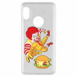 Чехол для Xiaomi Redmi Note 5 Clown in flight with a burger