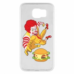 Чехол для Samsung S6 Clown in flight with a burger
