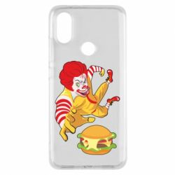 Чехол для Xiaomi Mi A2 Clown in flight with a burger