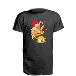 Удлиненная футболка Clown in flight with a burger