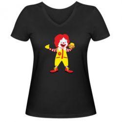 Жіноча футболка з V-подібним вирізом Clown McDonald's