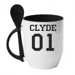 Кружка с керамической ложкой Clyde 01