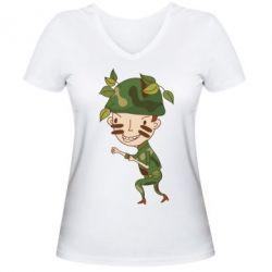 Женская футболка с V-образным вырезом Cміливий солдат - FatLine