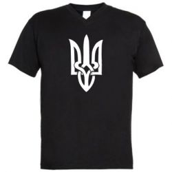 Мужская футболка  с V-образным вырезом Coat of arms of Ukraine torn inside