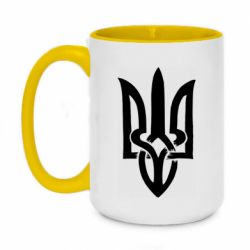 Кружка двухцветная 420ml Coat of arms of Ukraine torn inside
