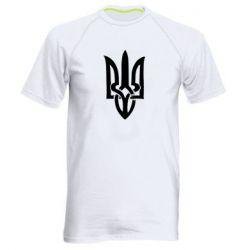 Мужская спортивная футболка Coat of arms of Ukraine torn inside