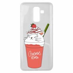 Чехол для Samsung J8 2018 Cocktail cat and strawberry