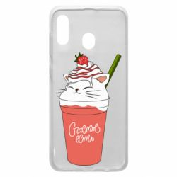 Чехол для Samsung A20 Cocktail cat and strawberry
