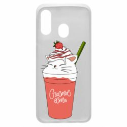 Чехол для Samsung A40 Cocktail cat and strawberry