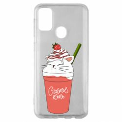 Чехол для Samsung M30s Cocktail cat and strawberry