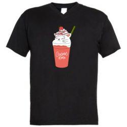 Чоловіча футболка з V-подібним вирізом Cocktail cat and strawberry