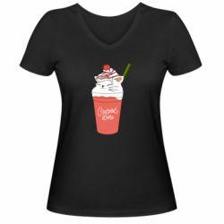 Жіноча футболка з V-подібним вирізом Cocktail cat and strawberry