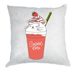 Подушка Cocktail cat and strawberry
