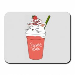 Килимок для миші Cocktail cat and strawberry