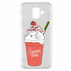 Чохол для Samsung A6 2018 Cocktail cat and strawberry