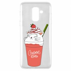 Чехол для Samsung A6+ 2018 Cocktail cat and strawberry