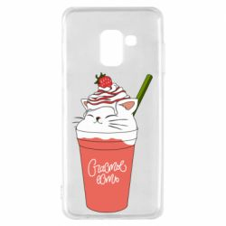 Чохол для Samsung A8 2018 Cocktail cat and strawberry