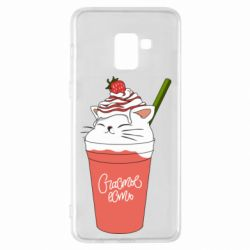 Чехол для Samsung A8+ 2018 Cocktail cat and strawberry
