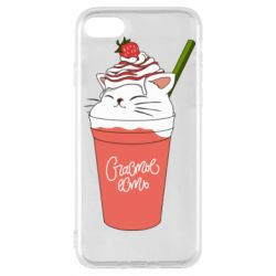 Чехол для iPhone 8 Cocktail cat and strawberry
