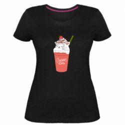 Жіноча стрейчева футболка Cocktail cat and strawberry