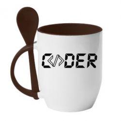 Кружка з керамічною ложкою Coder