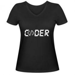 Жіноча футболка з V-подібним вирізом Coder