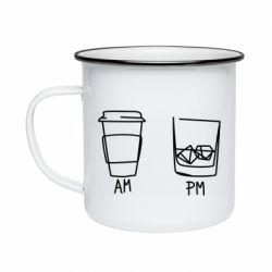 Кружка емальована Coffee and whiskey
