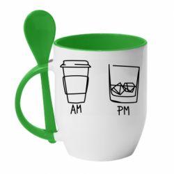 Кружка з керамічною ложкою Coffee and whiskey