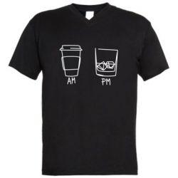 Чоловіча футболка з V-подібним вирізом Coffee and whiskey