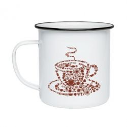 Кружка емальована Coffee from the cups