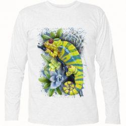 Футболка з довгим рукавом Collage with chameleon and succulents