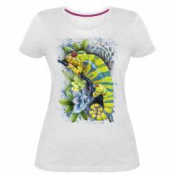 Жіноча стрейчева футболка Collage with chameleon and succulents
