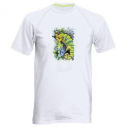 Чоловіча спортивна футболка Collage with chameleon and succulents