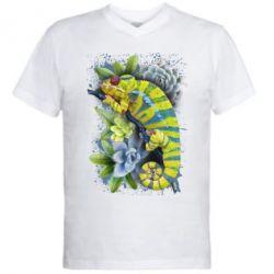 Чоловіча футболка з V-подібним вирізом Collage with chameleon and succulents