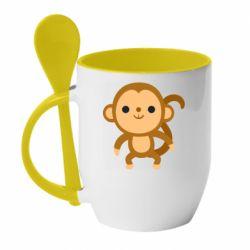 Кружка з керамічною ложкою Colored monkey