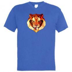 Мужская футболка  с V-образным вырезом Colorful Tiger - FatLine