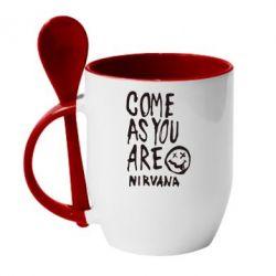 Кружка с керамической ложкой Come as you are Nirvana - FatLine