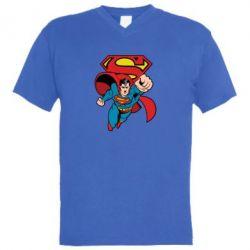 Мужская футболка  с V-образным вырезом Comics Superman - FatLine