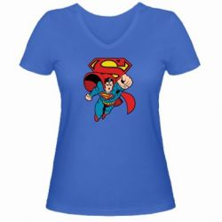 Женская футболка с V-образным вырезом Comics Superman - FatLine