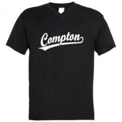 Мужская футболка  с V-образным вырезом Compton Vintage - FatLine